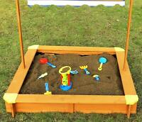 Merry Garden Sandbox with Canopy, Natural Stain New