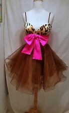 SHERRI HILL Leopard  Copper Tulle mini dress w/  hot pink bow size 2 ,4
