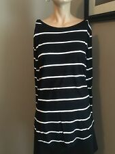 MUST SEE!! OLD NAVY BLACK & IVORY STRIPE L/S TEE SHIRT!! SIZE LARGE