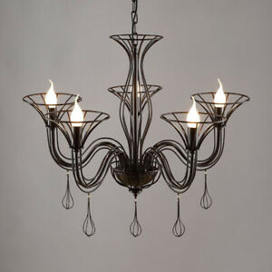 Vintage Black wrought iron chandelier LED Pendant lamp Ceiling light