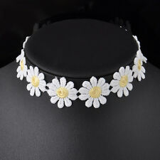 Cute White and Yellow Daisy Flower Choker Chain Collar Lace Bib Necklace