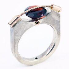 Tension Round Red Garnet Ring Band Tomasz Plodowski Sterling Silver 14K Gold
