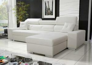 Luxurious Sevilla Designer Leather Corner Sofa Bed