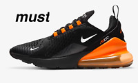 "Nike Air Max 270 "" Black/Total Orange/Metallic Silver"" Men's Trainers All Sizes"
