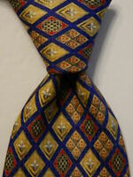 VITALIANO PANCALDI Men's 100% Silk Necktie ITALY Luxury Blue/Yellow/Red/Gray EUC