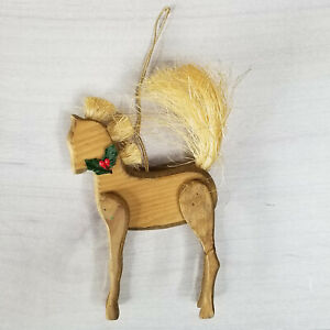 Wooden Horse Ornament Vintage Handmade Straw Solid Wood Old World Christmas