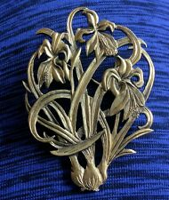 Vintage Signed MFA Museum of Fine Arts Iris Flower Floral Bronze Tone Pin Brooch