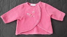 Sucre d'orge French Mushroom Butterfly Pink Knit Sweater Cardigan 3 Month Girl