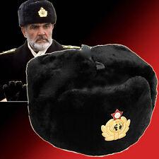 COLBACCO NERO UNISEX IN LANA  MARINA RUSSA - ORIGINAL SOVIET USHANKA tg 58 size