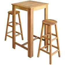 vidaXL Solid Acacia Wood Bar Table and Stool Set 3 Piece Kitchen Furniture