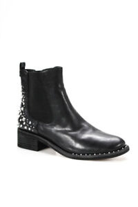 Sam Edelman Womens Leather Almond Toe Studded Ankle Boots Black Size 9