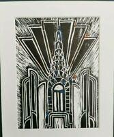 "Art deco ""chrysler"" Lino Print"