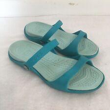 Crocs Cleo Aqua Tones Double Strap Cushioned Slip On Sandals Womens size 9