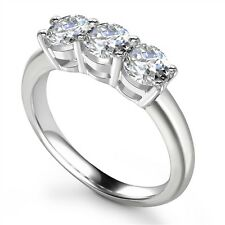 18Carat White Gold Diamond Classic 4-Claw Setting Trilogy Ring 1.50 Carats H-SI