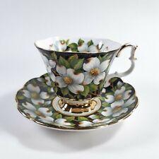 Royal Albert Teacup Saucer Flora Series Dogwood Floral Black Gold White
