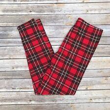 Red Black & White Plaid Holiday Women's Leggings Plus Size TC 12-20