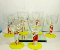 6 BEAUTIFUL SOLID GLASS ART MURANO STYLE GOBLETS TABLE BAR DECOR