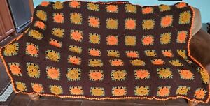 Vintage Earth Tones Granny Square Hand Crocheted Afghan Blanket Throw  60 x 82