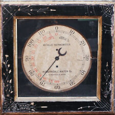 19th c. Auburndale Watch Co. Mass. Victorian Framed Metallic Thermometer