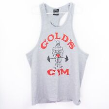Vintage Golds Gym Mens Gray Tank Top Large Made In Usa Red Black Stringer