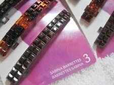 3 Goody Sabrina Squares Plastic Hair Barrettes Metal Closure Black Tortoiseshell