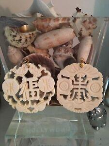 Vintage Chinese Carved Bovine Bone Pendants