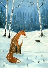 ACEO Original Watercolor Painting Fox and Mouse
