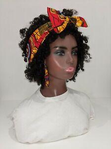 Hand made African print Cotton Wax Head Band Hair Wrap Scarf 006