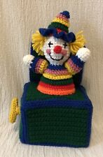 Handmade Crochet Clown Jack In The Box Tissue Cover
