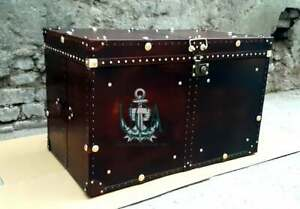 Handmade Leather Brown Finest Leather Trunk with Key Leather Box
