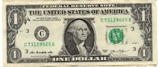 "ONE DOLLAR  BILL (fancy Serial Number) RAISED/STUCK DIGIT HIGH 0"" ERROR NOTE"