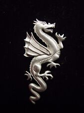 """JJ"" Jonette Jewelry Silver Pewter Flying DRAGON Facing Right Tac Pin ~ No TM"