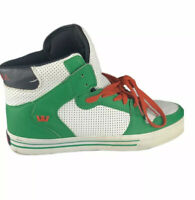 NEW Supra Vaider Hi Top Sneaker Shoes Green/Black-White Red Laces Men's Size 9