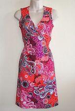Looks New Womens prAna Dress Sz S Orange Purple White Black Paisley Dress