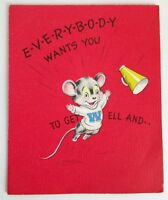 """Get Well Card Child 1950's Forget Me Not Mouse Soda Vintage Used 5 1/2"""" USA"""