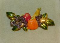 Autumn Harvest Pumpkin Grape Apple Pearl Acorn Enamel Gold tone Brooch Pin 8d 77