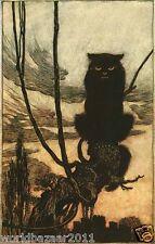 Arthur RACKHAM Impresión Gato Negro Halloween Bruja Brujería Magia