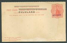 British Zululand Double Postal Stationery Specimen Fvf