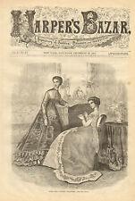 Victorian, Fashion, Evening Dresses, Vintage,1868 Original, Antique Art Print,