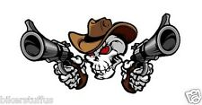 COWBOY SKULL WITH GUNS HELMET STICKER HARD HAT STICKER LAPTOP STICKER iPhone