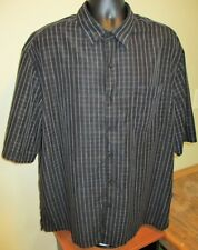 George Black & Grey Checkered Button Front Dress Shirt Size 2XL 50-52 Mens EUC