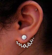 Lotus Flower Crystal Rhinestone 2 Piece Silver Tone Stud Earrings Multi Wear