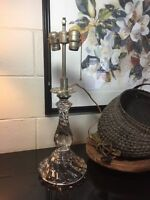 Rare Fostoria Glass COLONY Electric Lamp Base w/ Double Sockets ***AS IS***