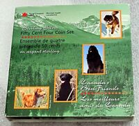 2007 Canada Silver 4 x 50 Cents 1/2 Dollar Canada's Best Friends Dogs Proof