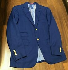 Isaia Napoli Jacket Blazer Men's Wool Slim-Fit Blue Size:48