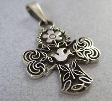 Mexican Taxco 925 Silver Peace Dove Holy Spirit Christian Flower Cross Pendant