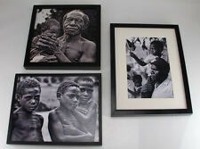 Papua New Guinea Framed Black & White Exhibit Photographs Pictures Set of 3