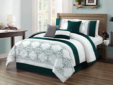 7P Alair Scroll Floral Vine Damask Embroidery Comforter Set Teal White Gray King