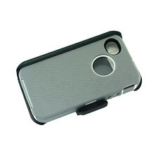 For Apple iPhone 4/4s Defender Case Cover (Belt Clip Fits Otterbox) Gray White