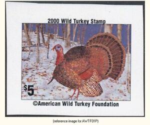 American Wild Turkey Found 2000 $5 Stamp imp. *SALE*